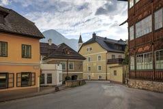 Centro histórico da cidade de Aussee mau durante o por do sol Aussee mau, Styria, Áustria, Europa fotografia de stock