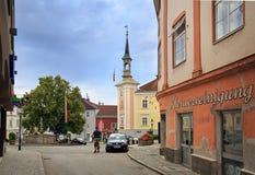 Centro histórico da cidade de Ybbs um der Donau Baixa Áustria imagens de stock royalty free