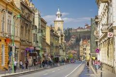Centro histórico de Brasov, Romênia Fotografia de Stock