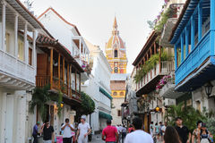 Centro histórico de Cartagena, una vista de la catedral y la arquitectura colonial en el Caribe Imagenes de archivo