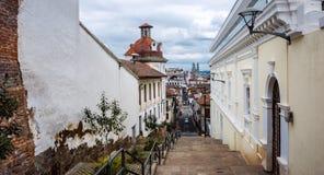 Centro histórico de la ciudad vieja Quito Imagen de archivo libre de regalías