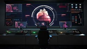 Centro humano de la asistencia médica, sala de control principal, corazón de exploración Sistema cardiovascular humano Tecnología stock de ilustración