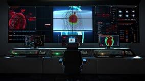 Centro humano de la asistencia médica, sala de control principal, cuerpo delantero y corazón de la exploración Sistema cardiovasc ilustración del vector