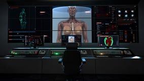 Centro humano de la asistencia médica, sala de control principal, cuerpo femenino de enfoque y músculo humano de exploración, sis libre illustration