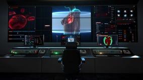 Centro humano de la asistencia médica, sala de control principal, cuerpo femenino y corazón de la exploración Sistema cardiovascu libre illustration