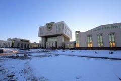 Centro intellettuale-- Biblioteca fondamentale nell'università di Stato di Lomonosov Mosca (è scritto nel Russo), Russia immagine stock