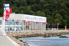 Centro internacional da navigação de Aarhus durante o campeonato 2018 da navigação do mundo em Dinamarca fotografia de stock