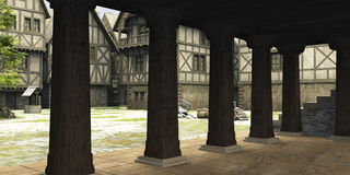 Centro medieval o de la fantasía Markethall de ciudad stock de ilustración