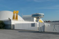 Centro Niemeyer in Avilés, view from the port royalty free stock photo