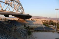 Centro olímpico do voleibol de praia de Faliro - complexo olímpico da zona litoral de Faliro 14 anos após Jogos Olímpicos do verã fotografia de stock royalty free