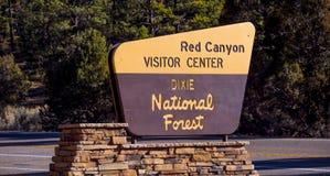 Centro rojo del visitior del barranco en Utah - BARRANCO ROJO - UTAH - 24 de octubre de 2017 Foto de archivo libre de regalías