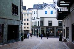 Centro storico della città dello svizzero di St Moritz Fotografie Stock