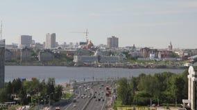 Centro storico della città e della diga di trasporto Kazan, Tatarstan, Russia video d archivio