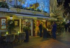 Centro storico di Baden-Baden con le decorazioni di Natale Fotografia Stock Libera da Diritti