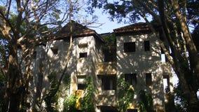 Centro turístico abandonado del hotel demasiado grande para su edad por las plantas en el bosque de la selva, Asia Naturaleza con almacen de video