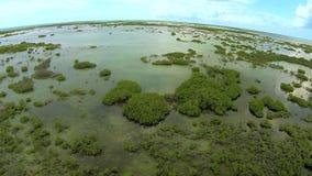 Centro turístico cubano Jardines de la reina del helicóptero almacen de metraje de vídeo