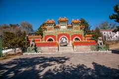 Centro turístico de montaña de Chengde, Putuo, provincia de Hebei por el templo del arco de cristal Fotografía de archivo
