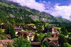 Centro turístico de montaña suizo de Wengen Imágenes de archivo libres de regalías