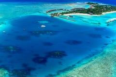 Centro turístico de Sheraton Maldives Full Moon Island Imagen de archivo libre de regalías