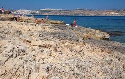 Centro turístico de verano - Buggiba en Malta Fotografía de archivo libre de regalías