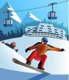 Centro turístico del invierno de la snowboard Fotografía de archivo