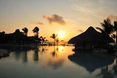 Centro turístico en la salida del sol Foto de archivo