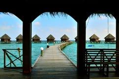 Centro turístico en Maldivas Fotos de archivo libres de regalías