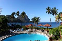 Centro turístico tropical en el Caribe Imagen de archivo libre de regalías