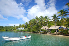 Centro turístico tropical en la isla del Nananu-yo-Ra, Fiji Imágenes de archivo libres de regalías