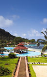 Centro turístico de isla tropical Imágenes de archivo libres de regalías