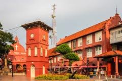 Centro urbano con la chiesa e la torre-Melaka, Malesia Immagini Stock Libere da Diritti