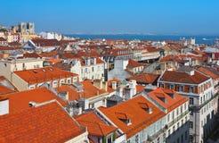 Centro urbano di Baixa della vista panoramica di Lisbona immagine stock libera da diritti
