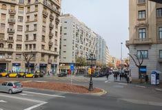 Centro urbano di Barcellona ad un'ora reasoably calma Fotografia Stock Libera da Diritti