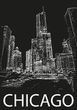 Centro urbano di Chicago, Illinois, U.S.A. Schizzo di tiraggio della mano Fotografie Stock