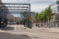 Centro urbano di Katowice, Polonia fotografia stock