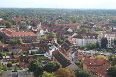 Centro urbano di Lüneburg da sopra - la Germania Fotografia Stock