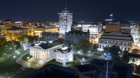 Centro urbano Richmond de Virginia State Capital Building Downtown de la visi?n a?rea imagen de archivo libre de regalías
