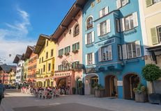 Centro urbano storico di Kitzbuhel, Tirolo, Austria Fotografie Stock