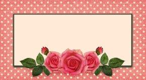 Centro y marco de flores de Rose stock de ilustración