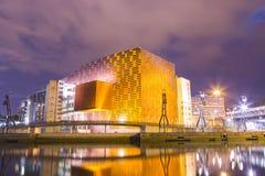 Centro y sala de conciertos de conferencia de Euskalduna en la puesta del sol foto de archivo libre de regalías