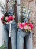 Centros de flores en vaqueros del dril de algodón Imágenes de archivo libres de regalías