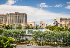 Centros turísticos de Las Vegas vistos del lago Bellagio Imagen de archivo