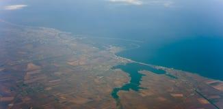 Centros turísticos de Rumania el Mar Negro de Mamaia, de Constanta, de Eforie Nord y del Sud Silueta del hombre de negocios Cower fotografía de archivo