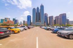 Centrum av Abu Dhabi, UAE Arkivfoton
