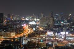 Centrum av Bangkok på natten Royaltyfria Bilder