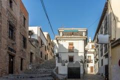 Centrum av Granada, Spanien, Europa under guld- timme av solar Arkivbilder