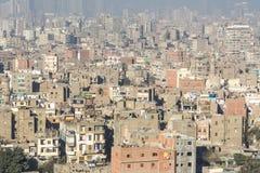 Centrum av Kairo som ses från Saladin Citadel, Egypten royaltyfri fotografi