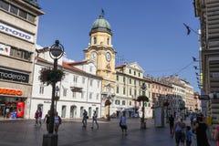 Centrum av Rijeka, Kroatien Arkivbild