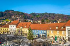Centrum av staden Samobor, Kroatien Royaltyfri Foto