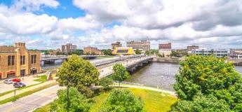 Centrum av Waterloo Iowa arkivfoton